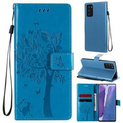 Embossing Butterfly Tree Leather Wallet Case for Samsung Galaxy Note 20 - Blue