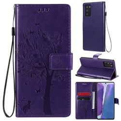 Embossing Butterfly Tree Leather Wallet Case for Samsung Galaxy Note 20 - Purple