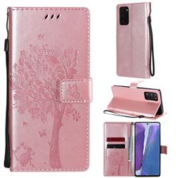 Embossing Butterfly Tree Leather Wallet Case for Samsung Galaxy Note 20 - Rose Pink