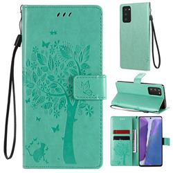 Embossing Butterfly Tree Leather Wallet Case for Samsung Galaxy Note 20 - Cyan