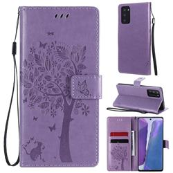 Embossing Butterfly Tree Leather Wallet Case for Samsung Galaxy Note 20 - Violet
