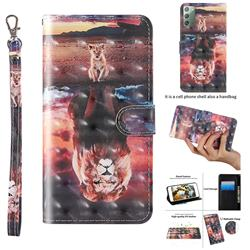 Fantasy Lion 3D Painted Leather Wallet Case for Samsung Galaxy Note 20