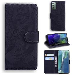 Intricate Embossing Tiger Face Leather Wallet Case for Samsung Galaxy Note 20 - Black