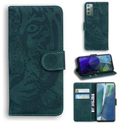 Intricate Embossing Tiger Face Leather Wallet Case for Samsung Galaxy Note 20 - Green