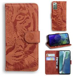 Intricate Embossing Tiger Face Leather Wallet Case for Samsung Galaxy Note 20 - Brown