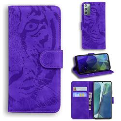 Intricate Embossing Tiger Face Leather Wallet Case for Samsung Galaxy Note 20 - Purple