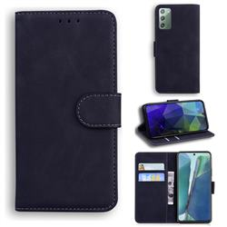 Retro Classic Skin Feel Leather Wallet Phone Case for Samsung Galaxy Note 20 - Black