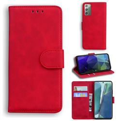 Retro Classic Skin Feel Leather Wallet Phone Case for Samsung Galaxy Note 20 - Red