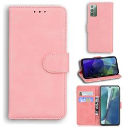 Retro Classic Skin Feel Leather Wallet Phone Case for Samsung Galaxy Note 20 - Pink
