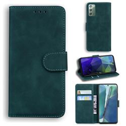 Retro Classic Skin Feel Leather Wallet Phone Case for Samsung Galaxy Note 20 - Green