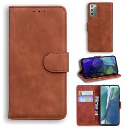 Retro Classic Skin Feel Leather Wallet Phone Case for Samsung Galaxy Note 20 - Brown