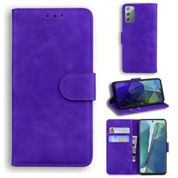 Retro Classic Skin Feel Leather Wallet Phone Case for Samsung Galaxy Note 20 - Purple