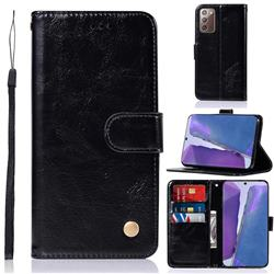 Luxury Retro Leather Wallet Case for Samsung Galaxy Note 20 - Black