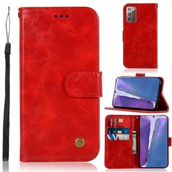 Luxury Retro Leather Wallet Case for Samsung Galaxy Note 20 - Red
