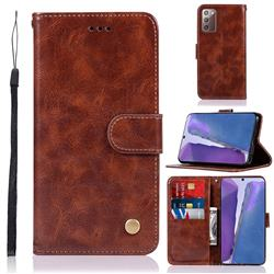 Luxury Retro Leather Wallet Case for Samsung Galaxy Note 20 - Brown