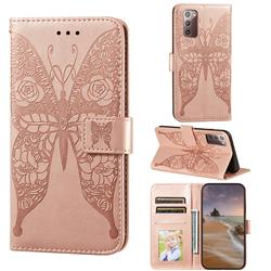 Intricate Embossing Rose Flower Butterfly Leather Wallet Case for Samsung Galaxy Note 20 - Rose Gold