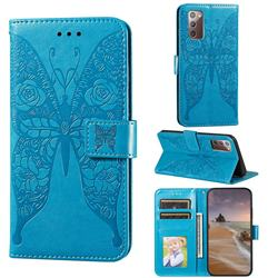 Intricate Embossing Rose Flower Butterfly Leather Wallet Case for Samsung Galaxy Note 20 - Blue