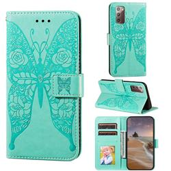 Intricate Embossing Rose Flower Butterfly Leather Wallet Case for Samsung Galaxy Note 20 - Green