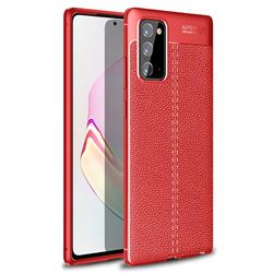 Luxury Auto Focus Litchi Texture Silicone TPU Back Cover for Samsung Galaxy Note 20 - Red