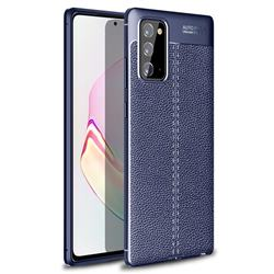 Luxury Auto Focus Litchi Texture Silicone TPU Back Cover for Samsung Galaxy Note 20 - Dark Blue