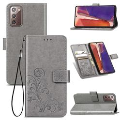 Embossing Imprint Four-Leaf Clover Leather Wallet Case for Samsung Galaxy Note 20 - Grey