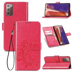 Embossing Imprint Four-Leaf Clover Leather Wallet Case for Samsung Galaxy Note 20 - Rose Red