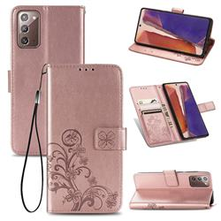 Embossing Imprint Four-Leaf Clover Leather Wallet Case for Samsung Galaxy Note 20 - Rose Gold