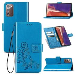 Embossing Imprint Four-Leaf Clover Leather Wallet Case for Samsung Galaxy Note 20 - Blue