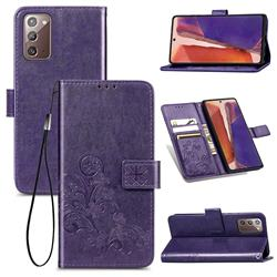 Embossing Imprint Four-Leaf Clover Leather Wallet Case for Samsung Galaxy Note 20 - Purple