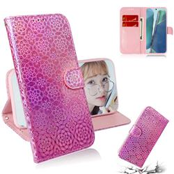 Laser Circle Shining Leather Wallet Phone Case for Samsung Galaxy Note 20 - Pink