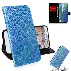 Laser Circle Shining Leather Wallet Phone Case for Samsung Galaxy Note 20 - Blue