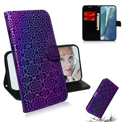 Laser Circle Shining Leather Wallet Phone Case for Samsung Galaxy Note 20 - Purple