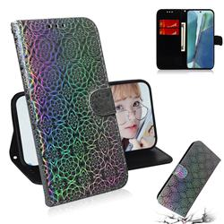 Laser Circle Shining Leather Wallet Phone Case for Samsung Galaxy Note 20 - Silver