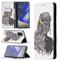 Girl with Long Hair Slim Magnetic Attraction Wallet Flip Cover for Samsung Galaxy Note 20
