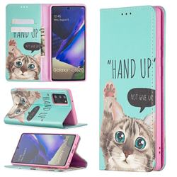 Hand Up Cat Slim Magnetic Attraction Wallet Flip Cover for Samsung Galaxy Note 20