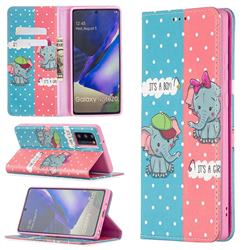 Elephant Boy and Girl Slim Magnetic Attraction Wallet Flip Cover for Samsung Galaxy Note 20