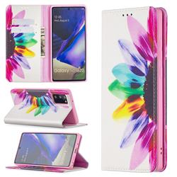 Sun Flower Slim Magnetic Attraction Wallet Flip Cover for Samsung Galaxy Note 20