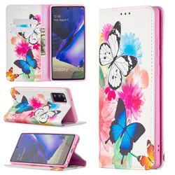 Flying Butterflies Slim Magnetic Attraction Wallet Flip Cover for Samsung Galaxy Note 20