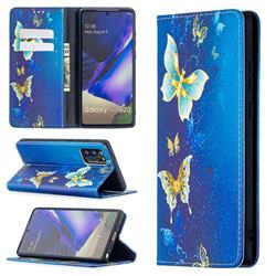 Gold Butterfly Slim Magnetic Attraction Wallet Flip Cover for Samsung Galaxy Note 20