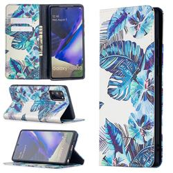 Blue Leaf Slim Magnetic Attraction Wallet Flip Cover for Samsung Galaxy Note 20