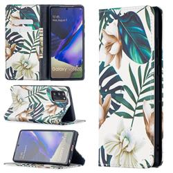 Flower Leaf Slim Magnetic Attraction Wallet Flip Cover for Samsung Galaxy Note 20