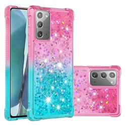 Rainbow Gradient Liquid Glitter Quicksand Sequins Phone Case for Samsung Galaxy Note 20 - Pink Blue
