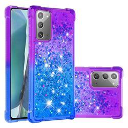 Rainbow Gradient Liquid Glitter Quicksand Sequins Phone Case for Samsung Galaxy Note 20 - Purple Blue