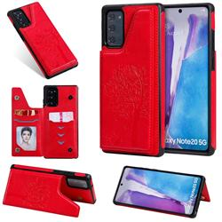 Luxury Tree and Cat Multifunction Magnetic Card Slots Stand Leather Phone Back Cover for Samsung Galaxy Note 20 - Red