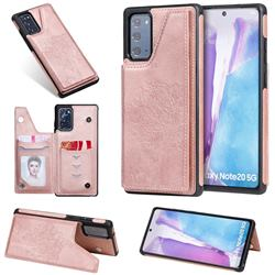 Luxury Tree and Cat Multifunction Magnetic Card Slots Stand Leather Phone Back Cover for Samsung Galaxy Note 20 - Rose Gold
