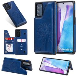 Luxury Tree and Cat Multifunction Magnetic Card Slots Stand Leather Phone Back Cover for Samsung Galaxy Note 20 - Blue