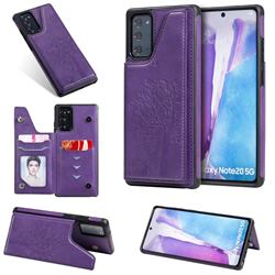 Luxury Tree and Cat Multifunction Magnetic Card Slots Stand Leather Phone Back Cover for Samsung Galaxy Note 20 - Purple