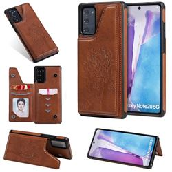 Luxury Tree and Cat Multifunction Magnetic Card Slots Stand Leather Phone Back Cover for Samsung Galaxy Note 20 - Brown