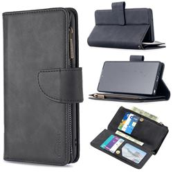 Binfen Color BF02 Sensory Buckle Zipper Multifunction Leather Phone Wallet for Samsung Galaxy Note 20 - Black