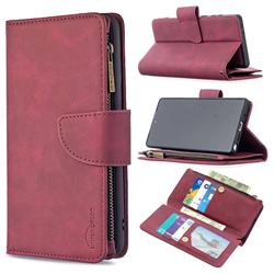 Binfen Color BF02 Sensory Buckle Zipper Multifunction Leather Phone Wallet for Samsung Galaxy Note 20 - Red Wine